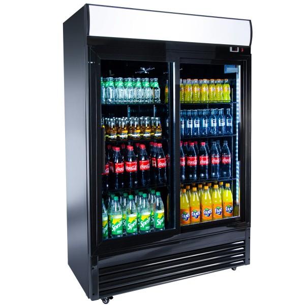 Getränkekühlschrank Schwarz - 880 Liter - mit 2 Glasschiebetüren - Neuware