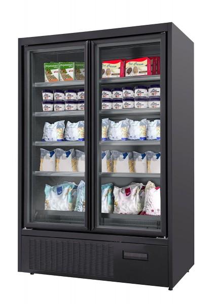 Wandtiefkühlregal - 500 Liter - mit 4 Regalböden - Schwarz