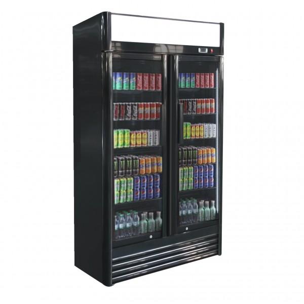 Getränkekühlschrank - schwarz - 630 Liter - mit 2 Glastüren