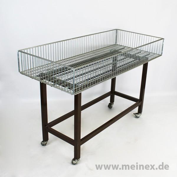 Aktionstisch / Wühltisch mit braunem Untergestell - gebraucht