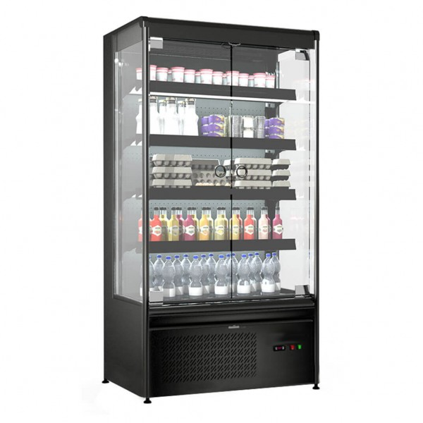 Wandkühlregal 420 Liter mit 4 Regalen - Schwarz