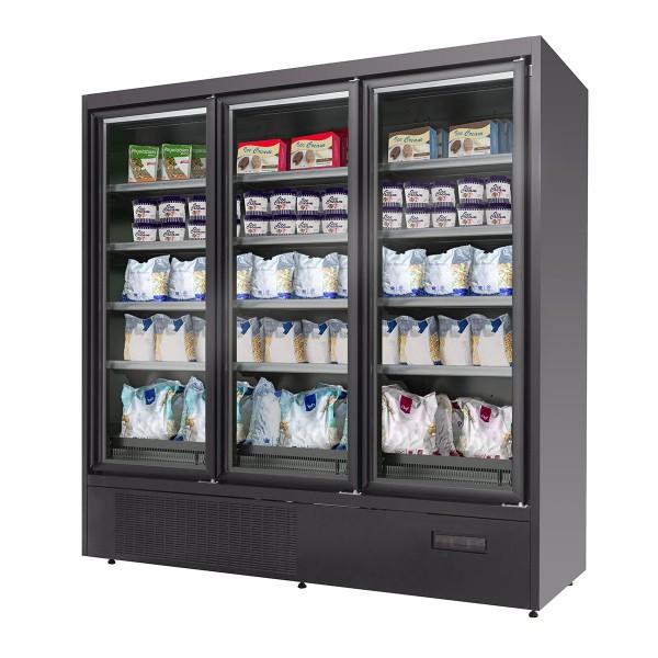 Wandtiefkühlregal - 700 Liter - mit 4 Regalböden - Schwarz