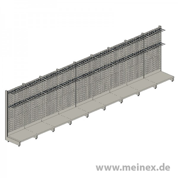 Shelf with Perforated Back Panels Tegometall - 9 Meter