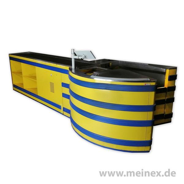 Kassentisch HARR gelb/blau LKT 141 - linksläufig - gebraucht