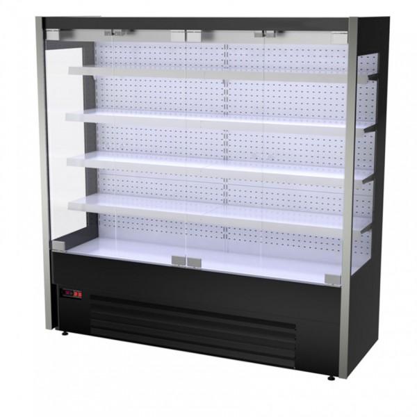 Wandkühlregal - 2,0 x 0,70 m - Schwarz - LED