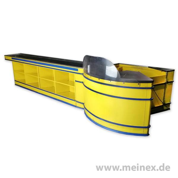 Kassentisch HARR gelb/blau - linksläufig - gebraucht